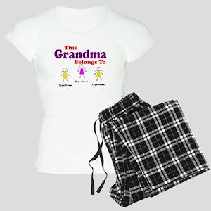 Personalized Grandma 3 girls Women's Light Pajamas