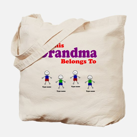 Personalized Grandma 4 boys Tote Bag