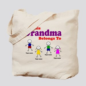 Personalized Grandma 4 kids Tote Bag