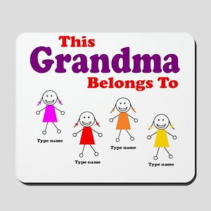 Personalized Grandma 4 girls Mousepad