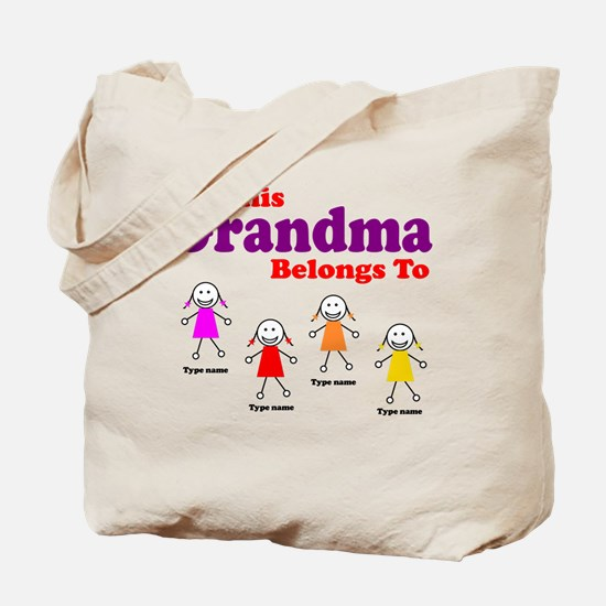 Personalized Grandma 4 girls Tote Bag