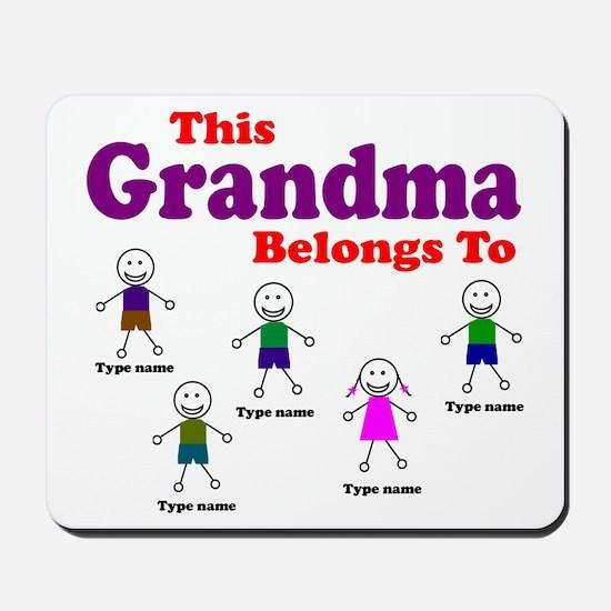 Personalized Grandma 5 kids Mousepad