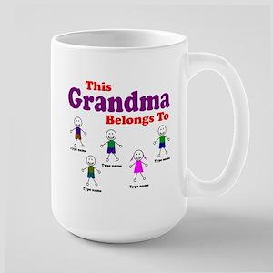 Personalized Grandma 5 kids Large Mug