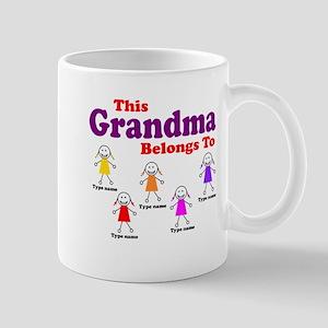 Personalized Grandma 5 girls Mug