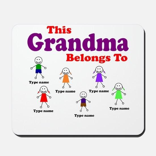 Personalized Grandma 6 kids Mousepad