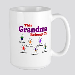 Personalized Grandma 6 kids Large Mug
