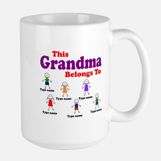 Personalized Grandma 6 kids Large Mug