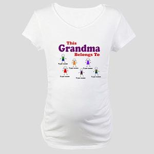 Personalized Grandma 6 kids Maternity T-Shirt