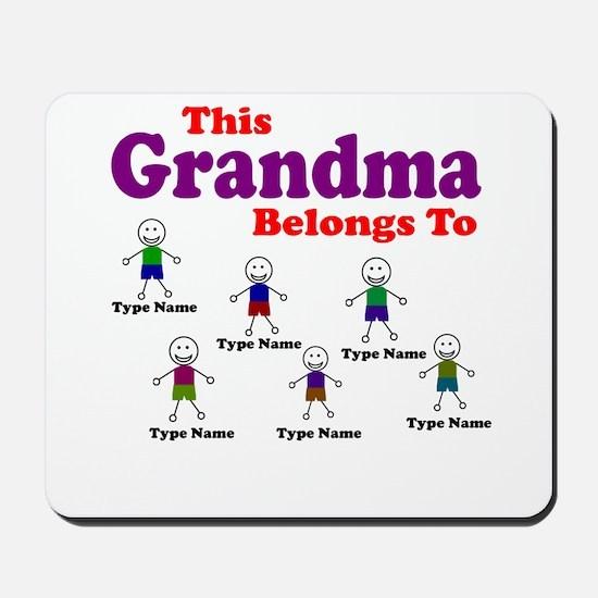 Personalized Grandma 6 boys Mousepad