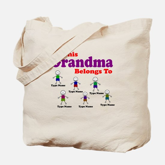Personalized Grandma 6 boys Tote Bag
