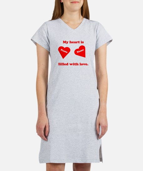 Personalized My Heart Filled Women's Nightshirt