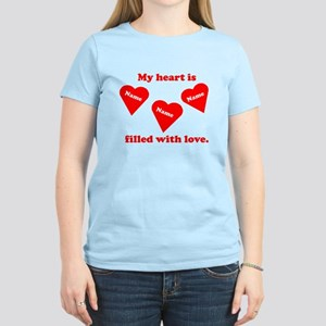 Personalized My Heart Filled Women's Light T-Shirt