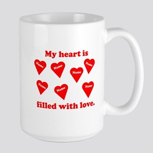 Personalized My Heart Filled Large Mug