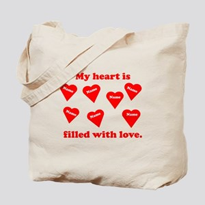 Personalized My Heart Filled Tote Bag