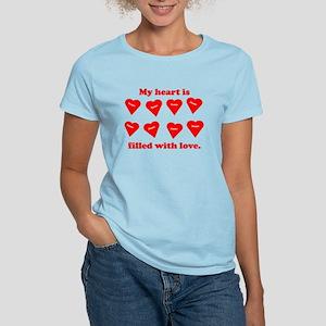 Personalized My Heart Filled Women's Light T-Shirt