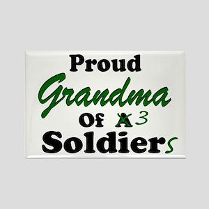 Proud Grandma 3 Soldiers Rectangle Magnet