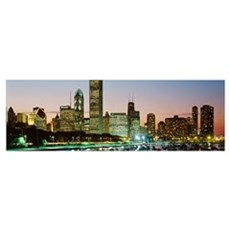 Chicago, skyline, night Poster