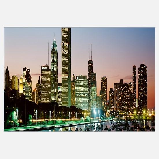 Chicago, skyline, night