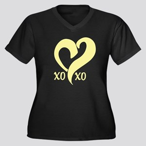 Cute Heart, Hugs, and Kisses Women's Plus Size V-N