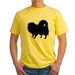 Pomeranian Silhouette Yellow T-Shirt