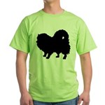 Pomeranian Silhouette Green T-Shirt