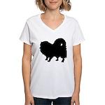 Pomeranian Silhouette Women's V-Neck T-Shirt