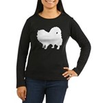 Pomeranian Silhouette Women's Long Sleeve Dark T-S