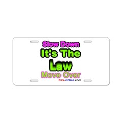 Slow Down Aluminum License Plate