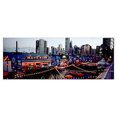 Amusement park lit up at dusk, Navy Pier, Chicago, Poster