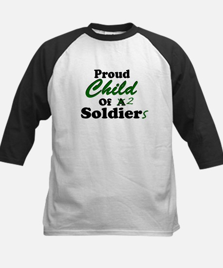 Proud Child of 2 Soldiers Kids Baseball Jersey