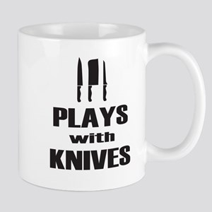 Plays with Knives Cooking Chef Mugs