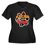 Beagle Women's Plus Size V-Neck Dark T-Shirt