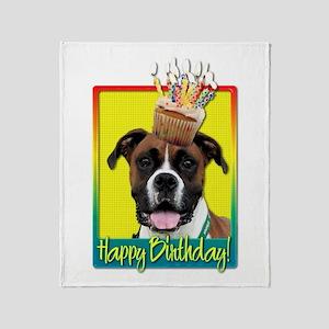 Birthday Cupcake - Boxer Throw Blanket