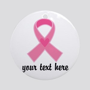 Personalized Breast Cancer Ribbon Ornament (Round)