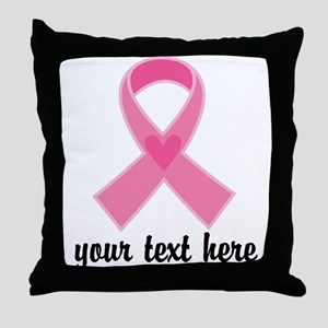 Personalized Breast Cancer Ribbon Throw Pillow