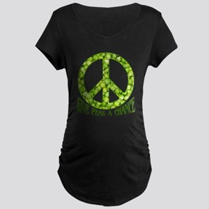 """Give Peas a Chance"" Maternity Dark T-Shirt"
