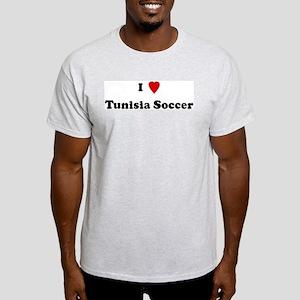 I Love Tunisia Soccer Ash Grey T-Shirt