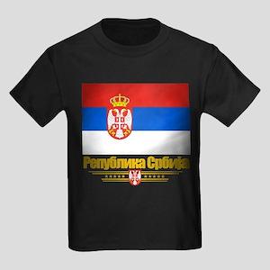 """""""Serbian Flag"""" Kids Dark T-Shirt"""