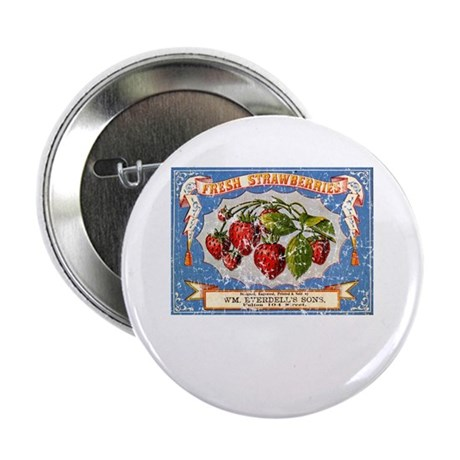 """Fresh Strawberries Label 2.25"""" Button (10 pack)"""
