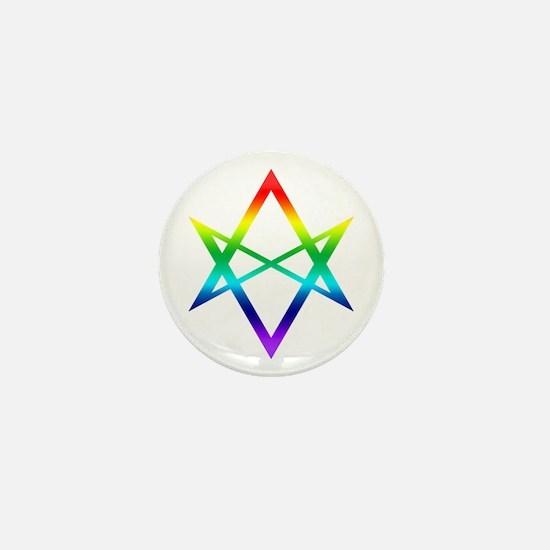 Rainbow Unicursal Hexagram Buttons Mini Button