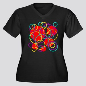 Dots and Rings Women's Plus Size V-Neck Dark T-Shi