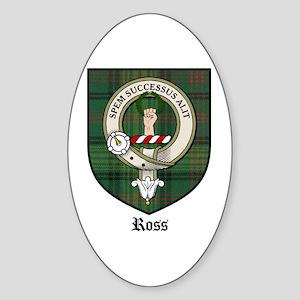 Ross Clan Crest Tartan Oval Sticker
