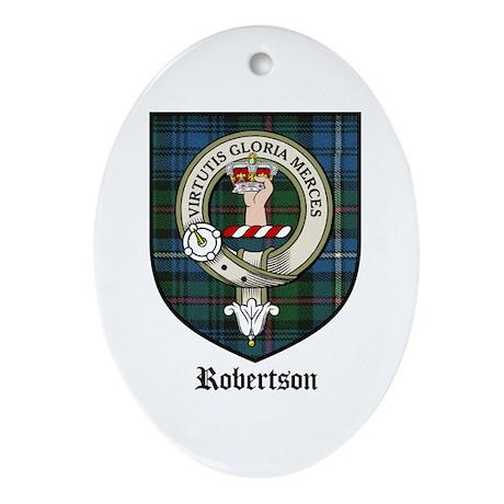 Robertson Clan Crest Tartan Oval Ornament