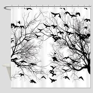 Crow flock Shower Curtain