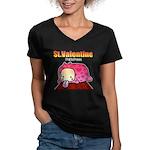 Valentine PeRoPuuu Women's V-Neck Dark T-Shirt