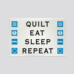 Quilt, Eat, Sleep, Repeat Rectangle Magnet