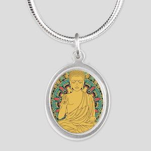 Buddha Silver Oval Necklace