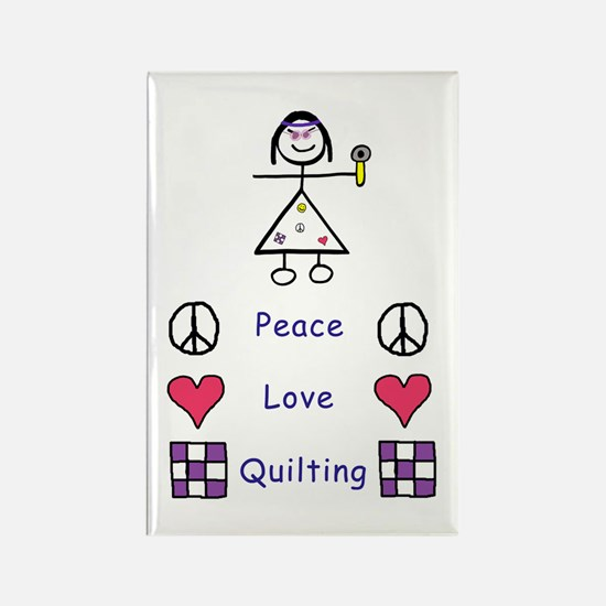 Peace. Love. Quilting. Rectangle Magnet