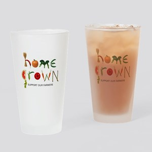 Home Grown. Support our Farme Drinking Glass