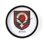 Nichols Clan Crest Tartan Wall Clock